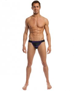 Jack Adams Bodyflex Mesh Thong Underwear Black/Purple 401-148