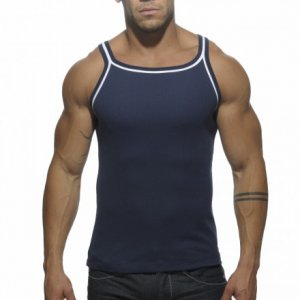 ES Collection Double Piping Tank Top T Shirt Navy TS122