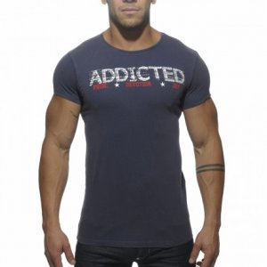 Addicted Logo Short Sleeved T Shirt Navy AD288