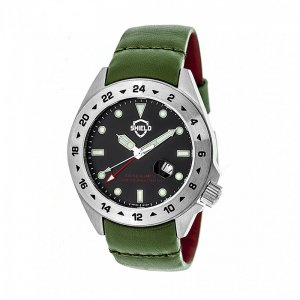 Shield Caruso Leather-Band Pro-Diver Swiss Watch w/Date - Si...