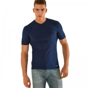 Roberto Lucca Slim Fit V Neck Short Sleeved T Shirt Navy Blue RL150S0223-00825