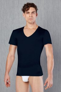 Doreanse V Neck Short Sleeved T Shirt Navy 2530