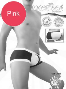 Icker Sea Chess Duotone Square Cut Trunk Swimwear Pink/White...