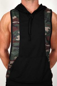 Pistol Pete Rambo Hoody Sleeveless Sweater Black/Camouflage MT180-132