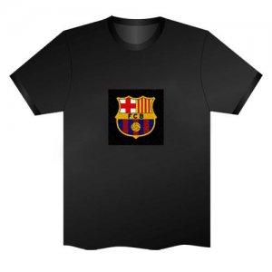 LED Electro Luminescence FCB Badge Funny Gadgets Rave Party Disco Light T Shirt Black 31997