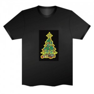 LED Electro Luminescence Christmas Tree Funny Gadgets Rave Party Disco Light T Shirt 13291