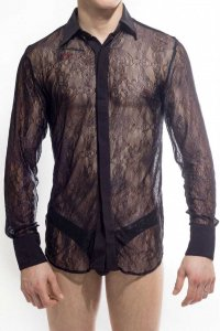 L'Homme Invisible Arabesque Lace Long Sleeved Shirt Black CH...