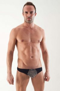 Geronimo Pinstripe Pouch Thong Underwear Black Accordion 1355S9
