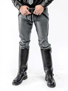 Mister B Piping Leather FXXXer Jeans Pants Grey/Black 111700