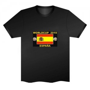 LED Electro Luminescence Flag Of Spain Funny Gadgets Rave Party Disco Light T Shirt Black 31777