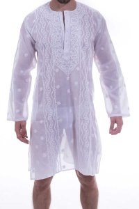 L'Homme Invisible Tajab Night Shirt Loungewear White TAJAB-4...