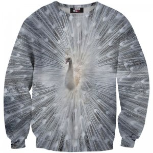 Mr. Gugu & Miss Go White Peacock Unisex Sweater S-PC538