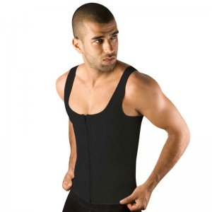 Moldeate Shapewear Compression Zipped Tank Top Black 7002B