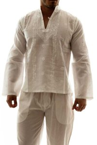 L'Homme Invisible Jaic Hand Embroidered Tunic Night Shirt Lo...