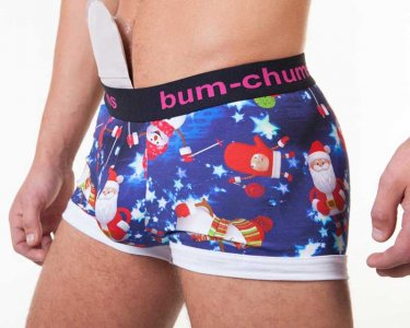 Bum-Chums Christmas Hipster Boxer Brief Underwear Blue