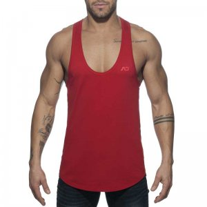 Addicted AD Flags Tape Tank Top T Shirt Red AD777