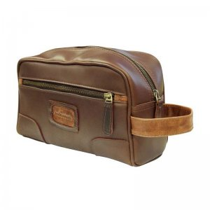 Asdrumark Leather Wash Bag Brown/Cognac AM089