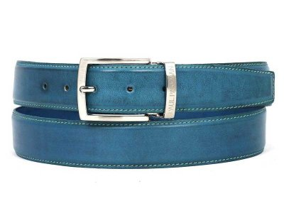 Paul Parkman Hand Painted Leather Belt Sky Blue B01-SKYBLU