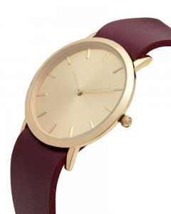 Analog Watch Classic Gold Plated Dial & Cherry Strap Watch G...