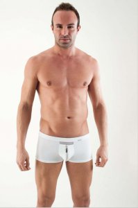 Geronimo Zip Front Boxer Brief Underwear White 1351BV
