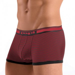 [2 Pack] Papi Cotton Stretch Solid / Pencil Stripe Brazilian Trunks Boxer Brief Underwear Black+Red 980553R-982