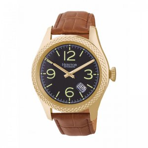Heritor Automatic Barnes Leather-Band Watch w/Date - Gold/Br...