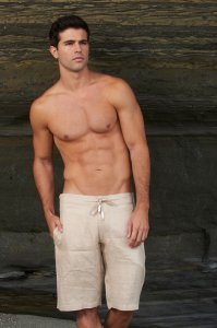 Sauvage Linen Resort Boardshorts Beachwear Natural M025