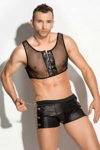 Me-Seduce Doro Set Mesh Cropped Tank Top & Side Chain Boxer Brief Costumes Black