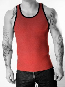 Whittall & Shon Mix Contrast Ribbed Tank Top T Shirt Red 304