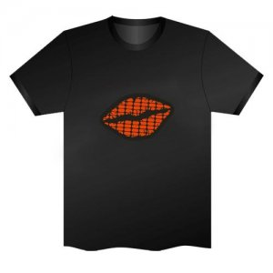 LED Electro Luminescence Sexy Red Lip Funny Gadgets Rave Party Disco Light T Shirt Black 32043