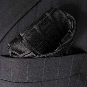 Distino Of Melbourne Check II Pocket Square Handkerchief Bla...
