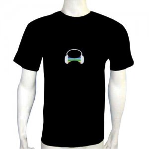 LED Electro Luminescence Car Funny Gadgets Rave Party Disco Light T Shirt 12033