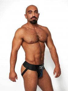 Mister B Leather Premium Jock Strap Underwear Black/Blue 231...