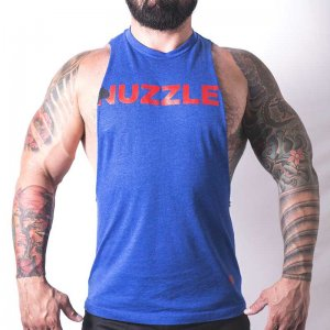 Bullywear Nuzzle Muscle Top T Shirt Blue NUZ1