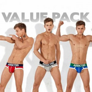 Addicted [3 Pack] Basic Brief Underwear Red & Grey & Royal AD301