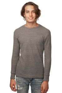 Royal Apparel Unisex Eco Triblend Heavyweight Thermal Long Sleeved T Shirt Eco Tri Grey 34152