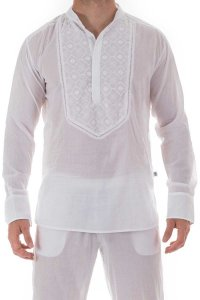 L'Homme Invisible Udai Embroidered Tunic Night Shirt Loungewear White HW142-LOU-002
