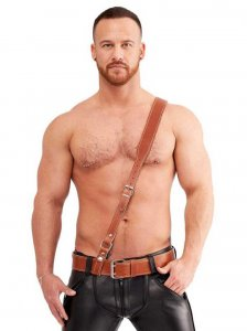Mister B Leather Sam Browne Stitched Belt Brown 420310
