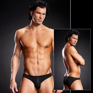 Clearance Blue Line Performance Front Zipper Microfiber Bikini Underwear Black BLM015