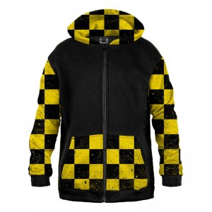 Mr. Gugu & Miss Go Chequered Yellow Pattern Unisex Zip Up Mix Hoodie HK-MIX1674