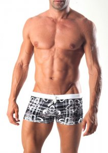Geronimo Square Cut Trunk Swimwear Black 1501B1-1