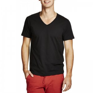 Bonds Standard V Neck Short Sleeved T Shirt Black AZTLI