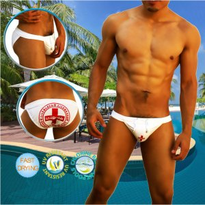 Icker Sea Lifeguard Microslip Bikini Swimwear White COB-14-LG01