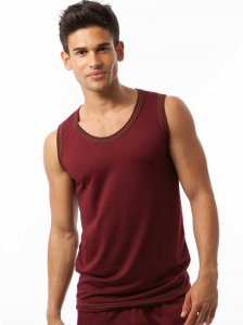 N2N Bodywear Basic Gym Muscle Top T Shirt Maroon BG12
