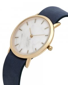 Analog Watch Classic White Marble Dial & Navy Strap Watch GN...