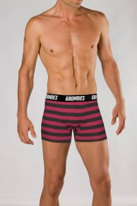 Grundies Stripe Boxer Brief Underwear Pink/Grey Marle