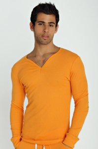 4-rth Thermal V Neck Long Sleeved T Shirt Sun Orange