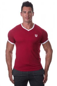 Bloke Undees Muscle V Neck Short Sleeved T Shirt Maroon BTS-VNK-M