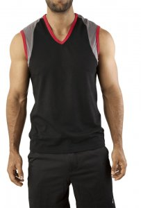 Vuthy V Neck Muscle Top T Shirt Black 238