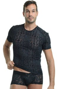 L'Homme Invisible Devore RN Tatoo Short Sleeved T Shirt Black MY08L-D11
